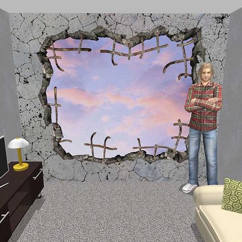 3D Wand Beton und Himmel (Belag) (#222413842,222413872,106372988)