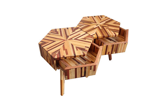 Hexagonal Scrap Wood Night Stand With Drawer