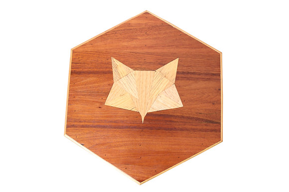 Hexagonal Scrap Wood Fox Side Table