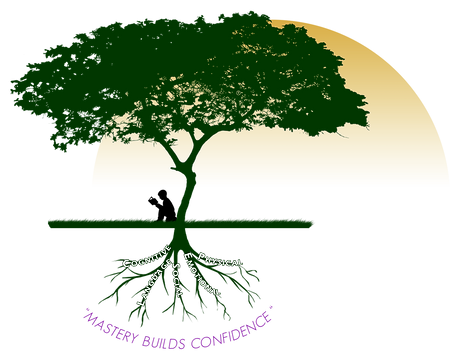 Learning Dreams LLC Logo of child reading beneath a tree.