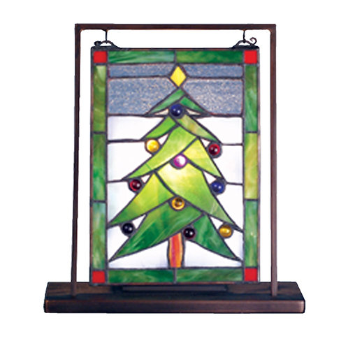 Stained Glass Christmas Tree Lighted Mini Tabletop Window