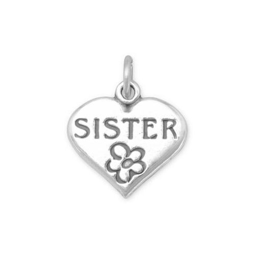 "Sterling Silver ""Sister"" Heart with flower charm"
