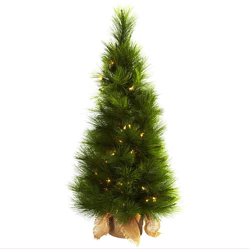 3 foot Artificial Christmas Tree, Burlap covered base and Clear Lights