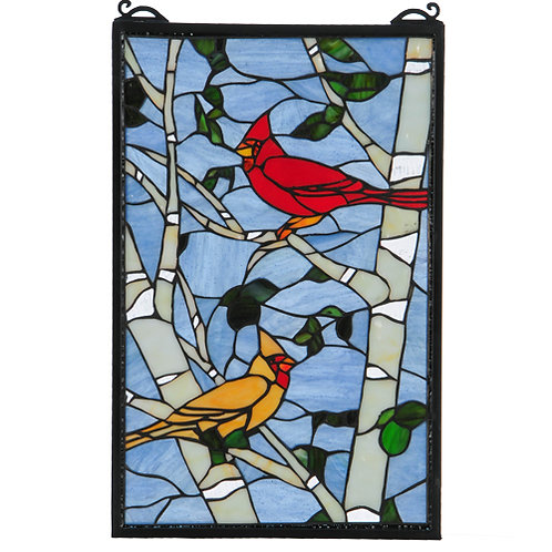 Cardinals Morning Stained Glass Window by Meyda
