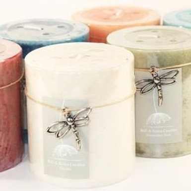 Mottled 3 Inch Tall Scented Pillar Candles with Dragonfly Charm