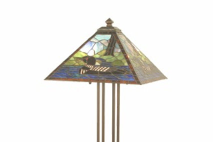 Stained Glass Floor Lamp, Loon Design by Meyda