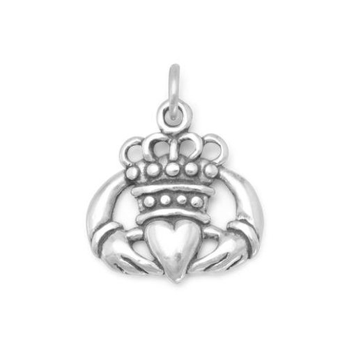Oxidized Sterling Silver Claddagh Charm