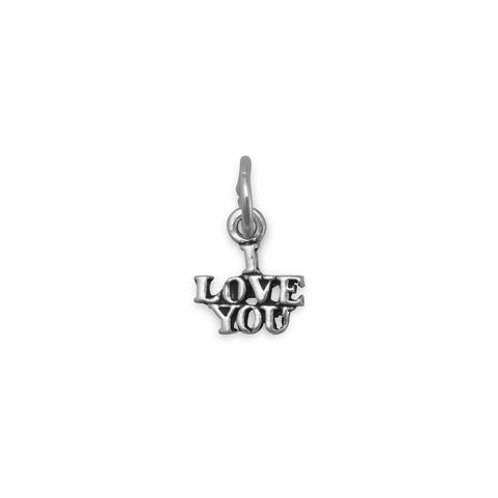 """Delicate Oxidized Sterling Silver """"I Love You"""" Charm"""