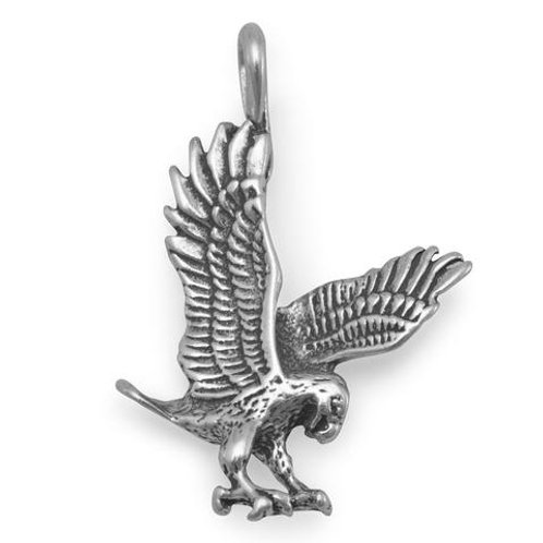 Eagle Oxidized Sterling Silver Pendant