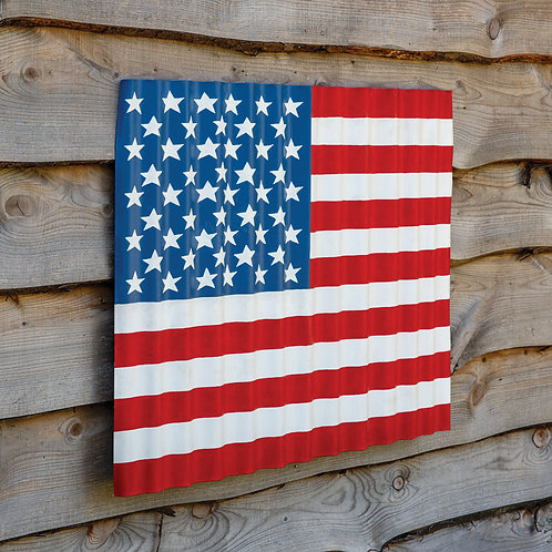 Corrugated Waving US Flag Wall Decor