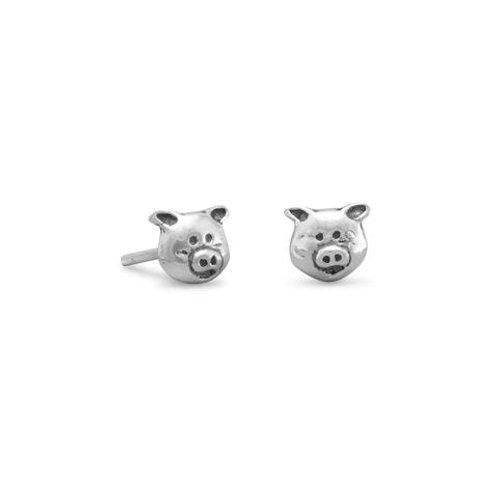 Sterling Silver Piggy Stud Earrings