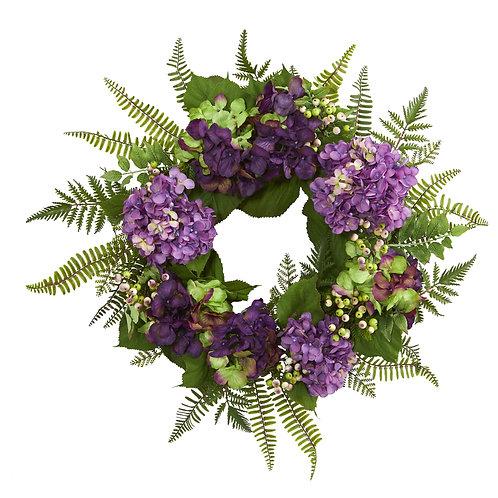 Purple Hydrangea Berry Wreath