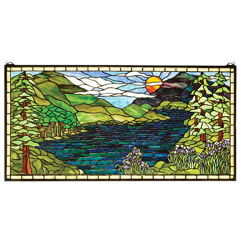Stained Glass Sunset Meadow Window Hanging