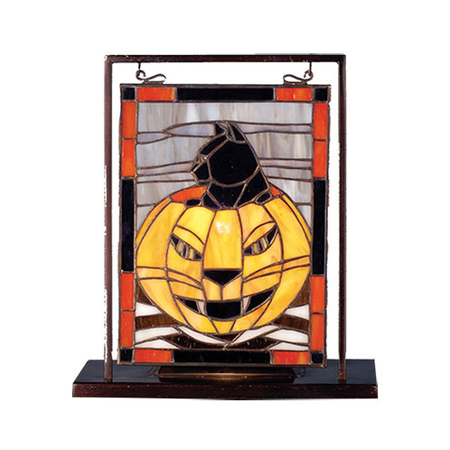 Stained Glass Cat in Jack O Lantern Lighted Mini Tabletop Window