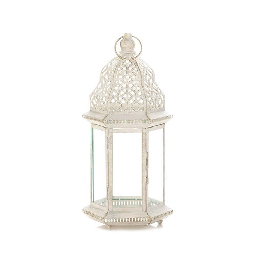 Graceful Distressed White Lantern