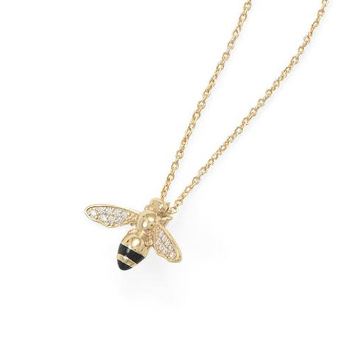 14 Karat Gold Plated Signity CZ Bee Necklace