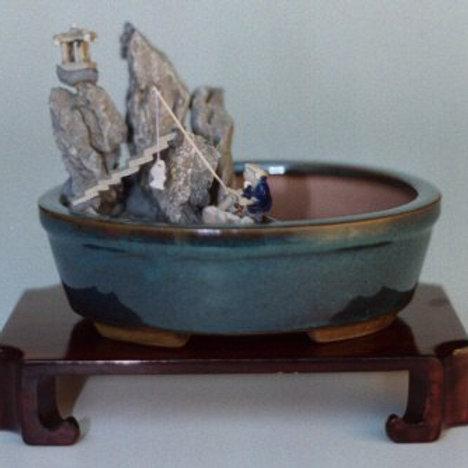 Water-Stone Landscape Scene Ceramic Bonsai Pot