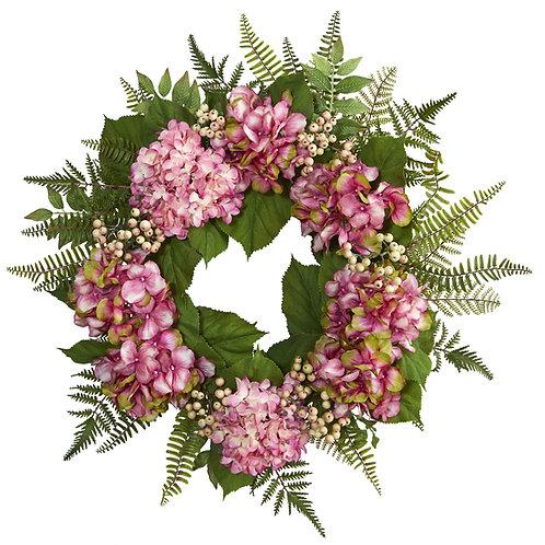 Pink Hydrangea Berry Wreath