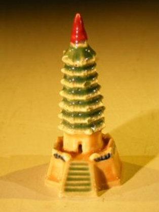 Glazed Ceramic Pagoda Figurine