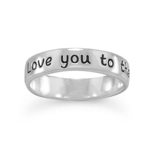 """Love you to the moon and back"" Sterling Silver Rin"