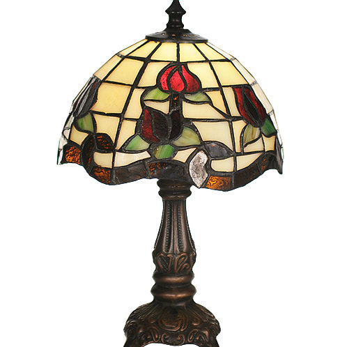 Red Rose Mini Stained Glass Lamp
