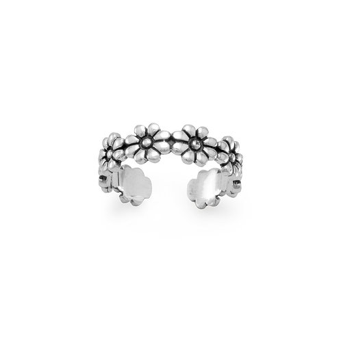Oxidized Sterling Silver Flower Toe Ring