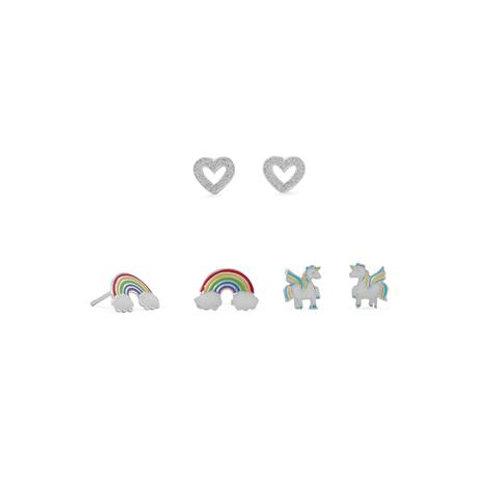 Rainbow, Heart and Unicorn Stud Earring Set