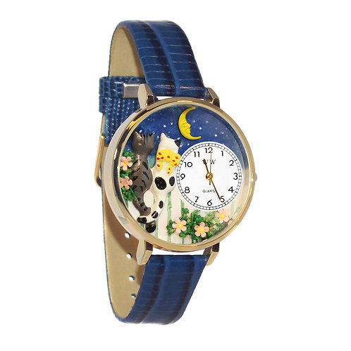 Cat's Date Night Watch-Large, Gold or Silver