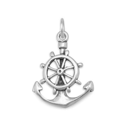 Oxidized Sterling Silver Mariners Cross Charm