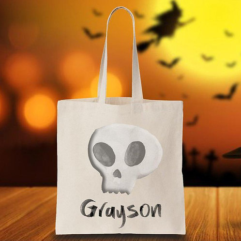 Halloween Trick-or-Treat Canvas Bag- Skull-Personalized