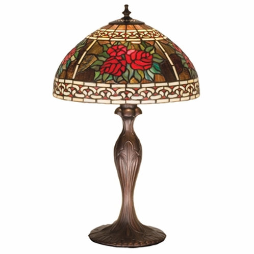 Stained Glass Lamp, Tiffany Roses & Scrolls by Meyda