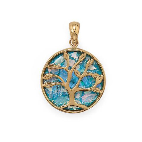 Tree of Life Pendant with Ancient Roman Glass