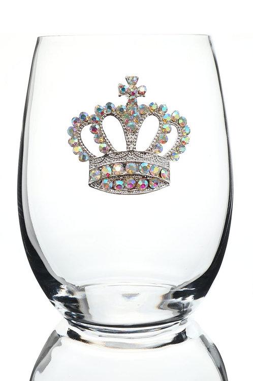 Crown Jeweled Stemless Wine Glass