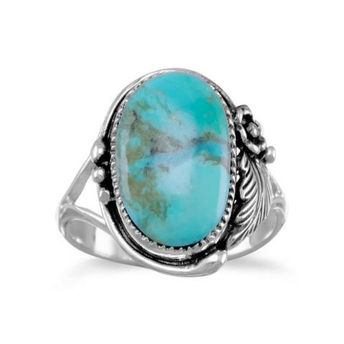 Ornate Floral Design Sterling Silver Turquoise Ring
