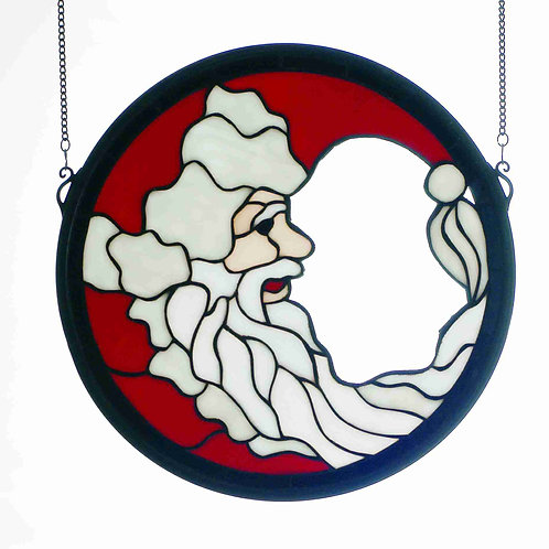 Crescent Santa Stained Glass Window Hanging