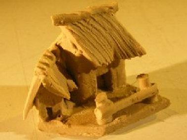Miniature Cottage Figurine, Unglazed