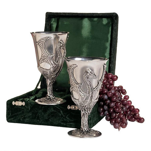 Solid Pewter Dragon Goblets: Set of Two with Gift Box
