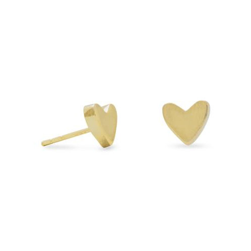 14 K Gold Plated Sterling Silver Heart Stud Earrings
