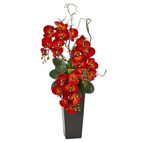 Autumn Phalaenopsis Artificial Arrangement In Black Vase