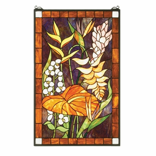 Tropical Floral Stained Glass Window by Meyda