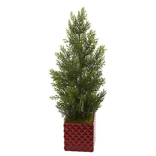 Mini Cedar Pine Artificial Tree In Red Planter (Indoor/Outdoor)