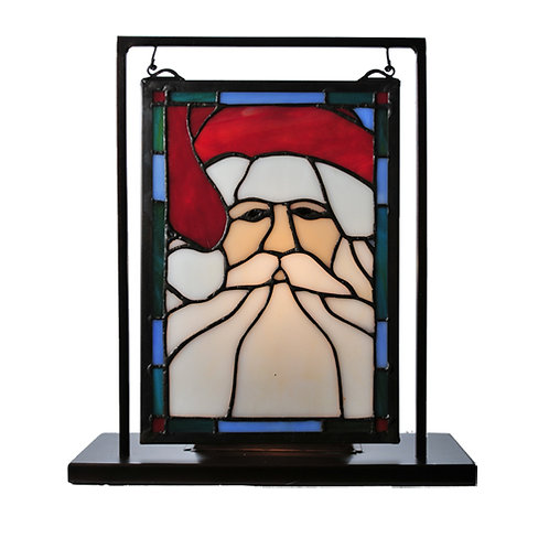 Santa Stained Glass Lighted Mini Window