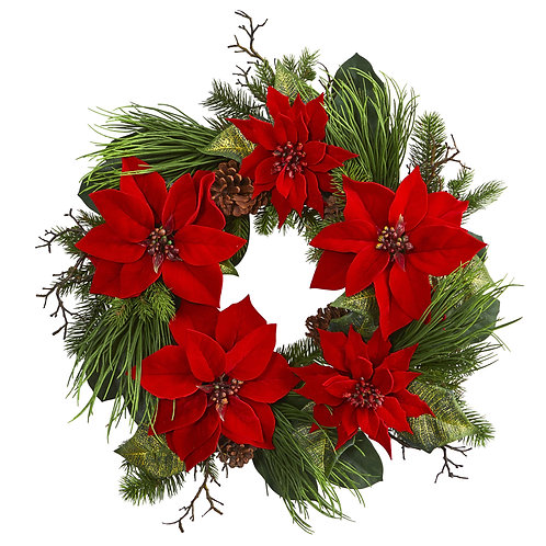 Poinsettia And Pine Wreath 28 inches