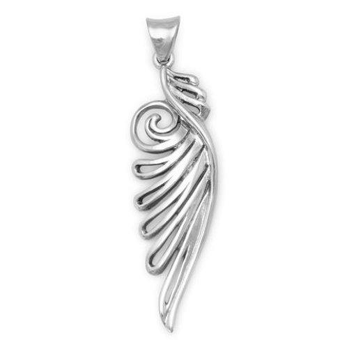 Oxidized Sterling Silver Stylized Angel Wing Pendant