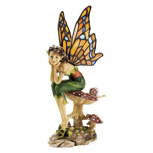 Pondering Pixie Sculpture with Stained Glass Wings