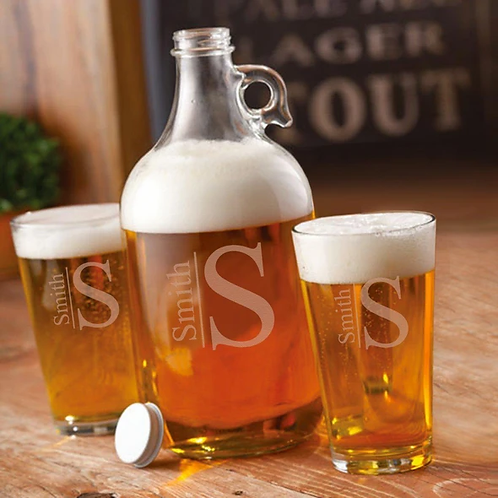 Personalized Growler with 2 Pub Glasses