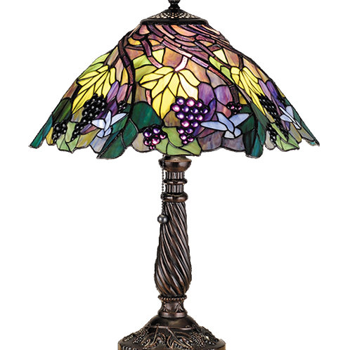 Spiral Grape Stained Glass Table Lamp by Meyda