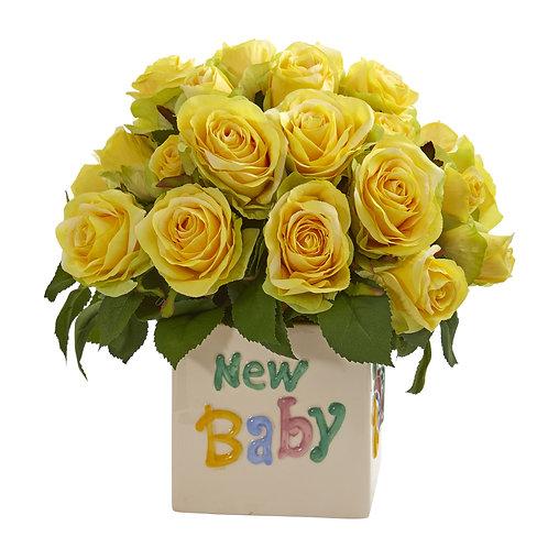 Yellow Rose New Baby Silk Arrangement