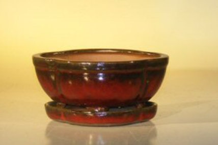 Parisian Red Oval Ceramic Professional Series Bonsai Pot
