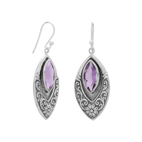 Oxidized Sterling Silver Marquise Floral Earrings with Amethyst